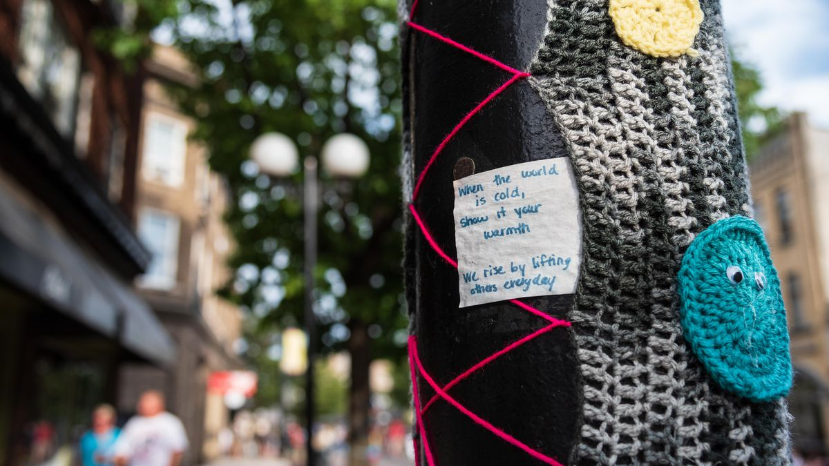 Yarn bombers spread message of hope, healing in Oregon District