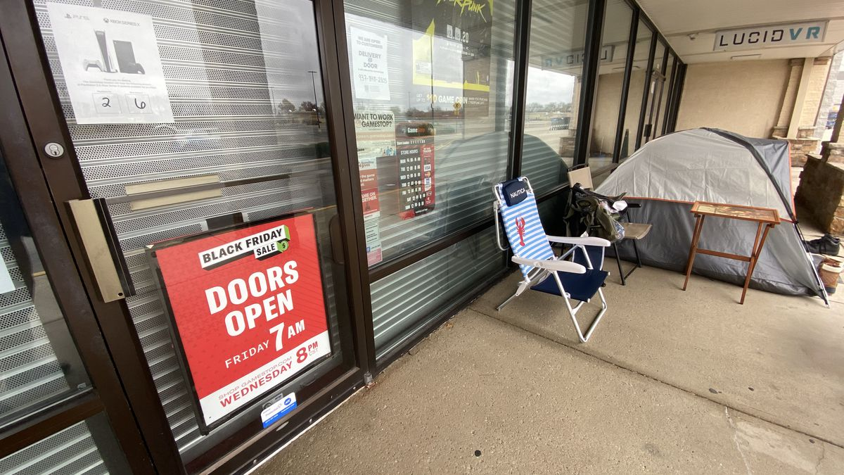 Campers outside Sugarcreek GameStop waiting for hard-to-get game systems