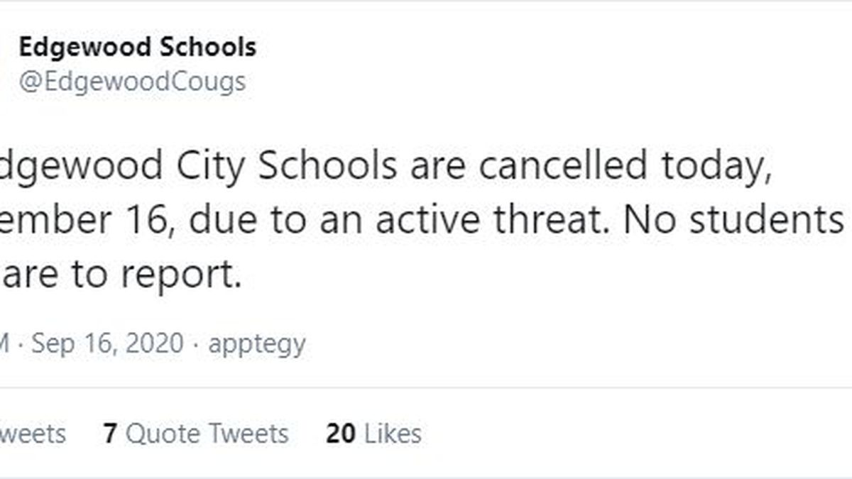'Active threat' forces Edgewood schools in Butler County to cancel class today