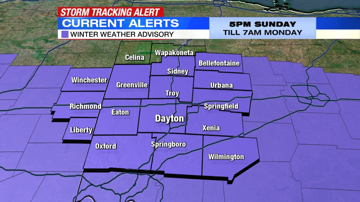 Winter Weather Advisory begins this evening, continues until Monday morning