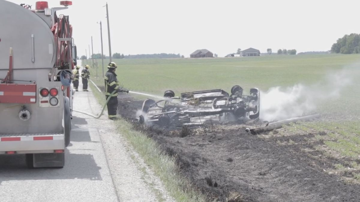 Bystanders help pull USPS driver out of vehicle after fiery crash in Darke County