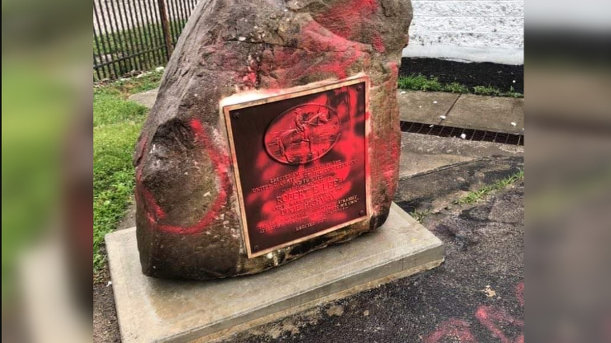 Franklin police asking public for information about defaced Robert E. Lee monument