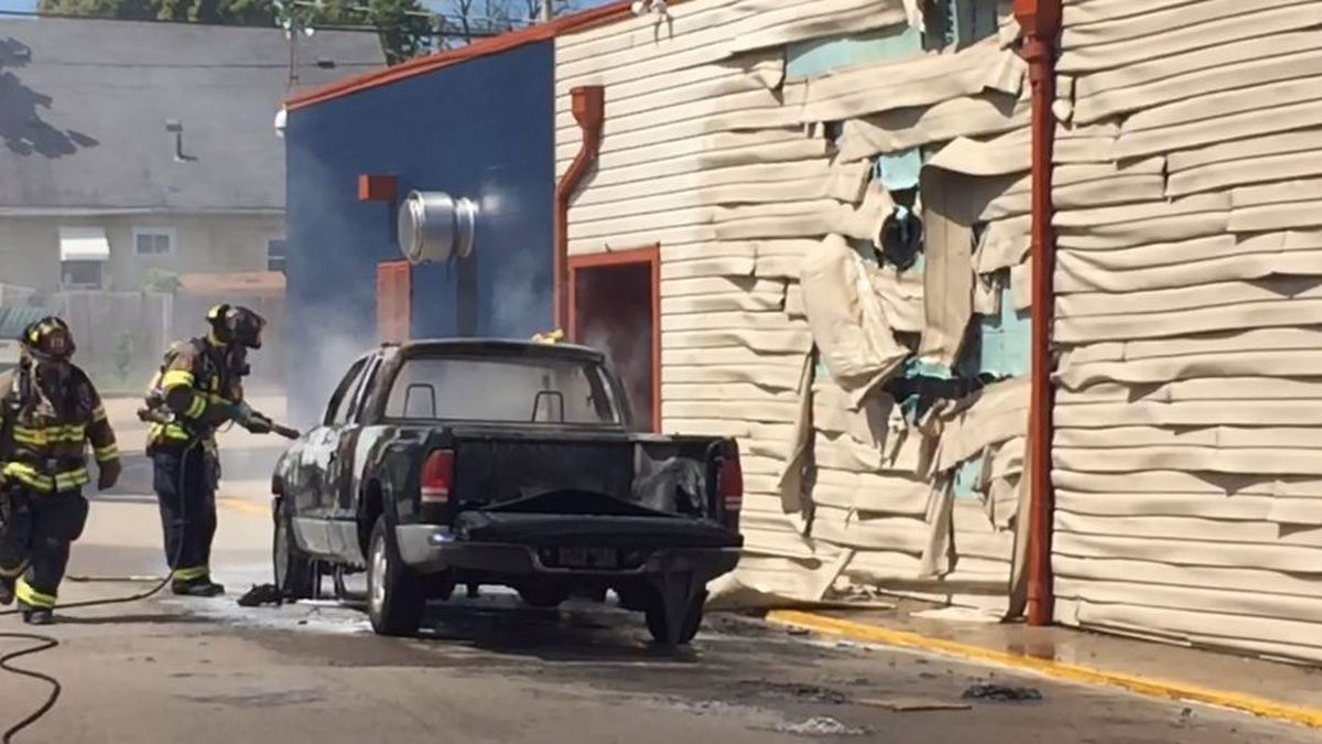 Truck fire damages side of West Milton bar