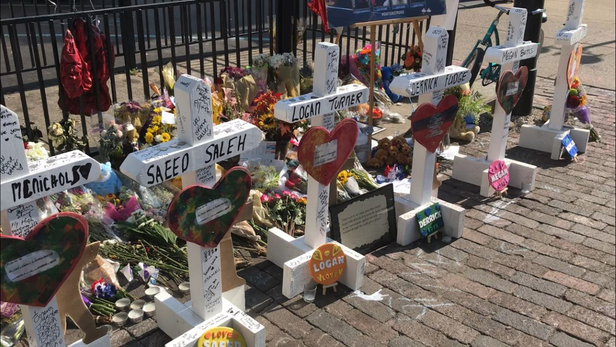 Oregon District shooting: Crosses for each victim line Fifth Street