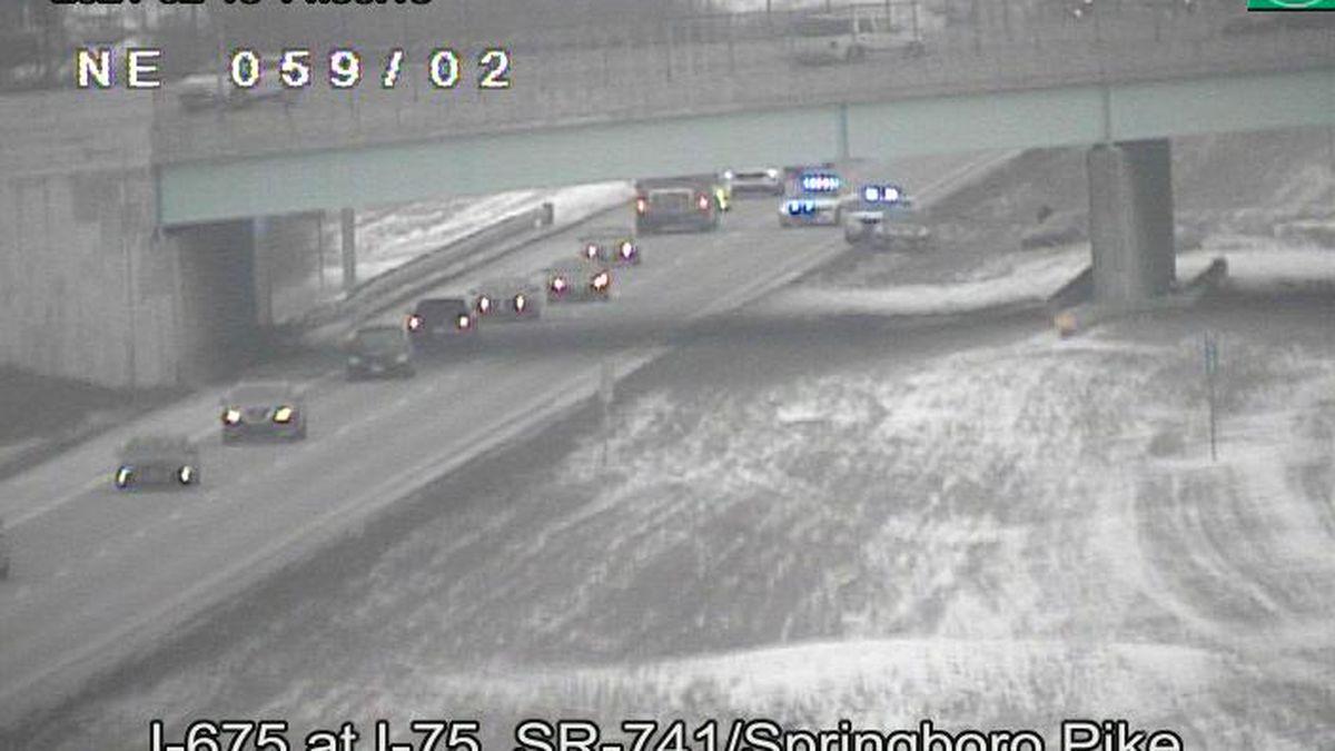 UPDATE: Left lane now open on SB I-675 South after crash near I-75